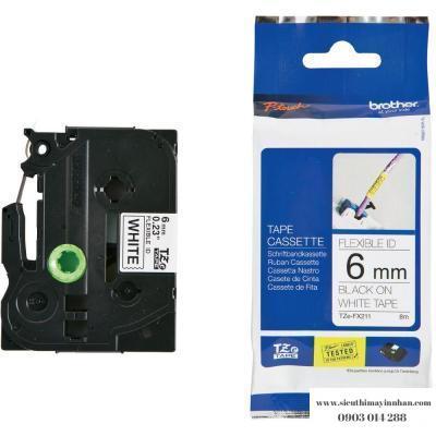 Brother TZe-FX211 / Chữ đen, nền trắng 6mm - siêu dẻo