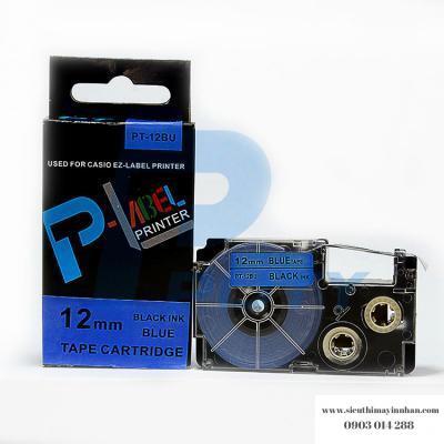 Nhãn in PT-12BU / Chữ đen nền xanh dương 12mm