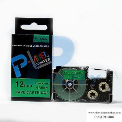 Nhãn in PT-12GN / Chữ đen nền xanh lá 12mm