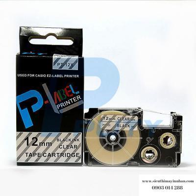 Nhãn in PT-12X / Chữ đen nền trong 12mm