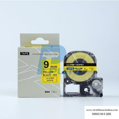 Băng nhãn LC-3YBW (SC9Y ) - 9mm cho máy EPSON - Tepra